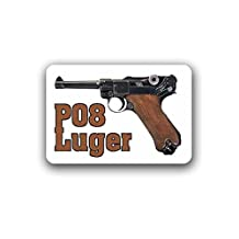 P08 Luger Parabellum Pistol Weapon 9mm Deco Collector Militaria Knee Clasp Imperial Army military badge emblem for Audi A3 BMW VW Golf GTI Mercedes (10x7cm) - Sticker Wall Decoration