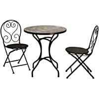 Cortesi Home Deedee Indoor/Outdoor Mosaic Round Table and 2 Wicker Chairs Set