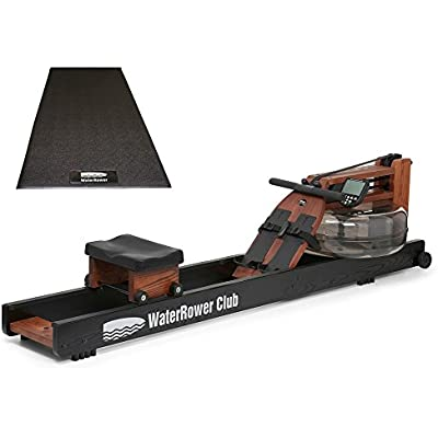 Water Rower Club S4 Rowing Machine Bundle with WaterRower Mat