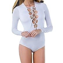 Ninimour Women's Lace Up Bandage Tight Bodysuit Jumpsuit Leotard