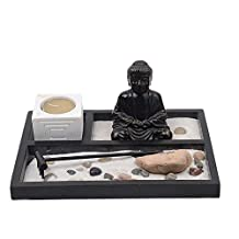 Japanese Zen Garden Buddha Statue Rake Sand Rock Tea Light Candle Tray