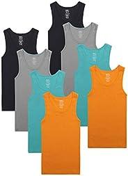 Buyless Fashion Boys Scoop Neck Tagless Undershirts Soft Cotton Tank Top (8 Pack)