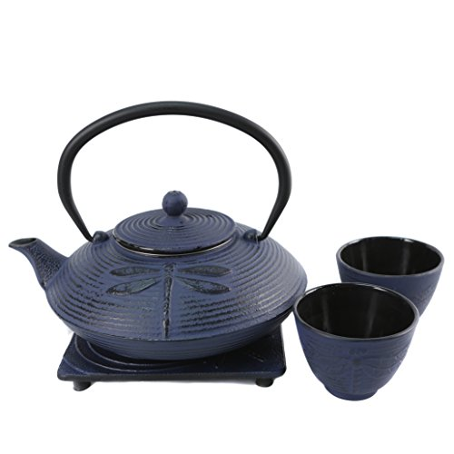 Cuisiland Dragonfly Cast Iron Teapot Set with 2 Cups 27oz Blue