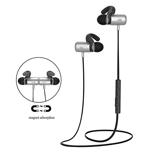 Onkee Bluetooth Headphones, Wireless In-ear Magnetic Earbuds for running with Mic for iphone,Samsung,motorola(gray)