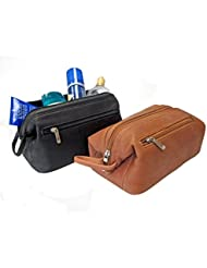 Royce Leather Colombian Leather Toiletry Bag (Black)