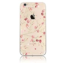 Apple iPhone 4 4G 4S Case,Beautiful Pink Blooming Flower Pattern Case [ Creative Design Series ] Sunroyal Ultra Transparent Clear Glossy Soft TPU Gel Skin Thin Slim Case Cover Drop Resistance Clear Back Cover Scratch Resistant Shock Absorbing Fashion Protective Case Cover Shell Skin