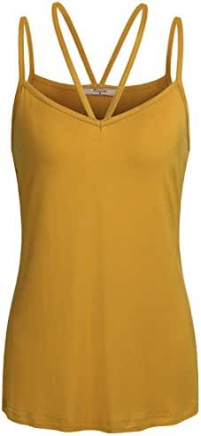 Cestyle Womens Basic Casual V Neck Spaghetti Strap Camisole Tank Top