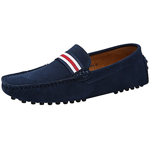 Rismart Men's Stylish NATO-Stripe Driving Loafers Shoes Comfort Handmade Suede Moccasin Slippers Navy SN19869 US8.5
