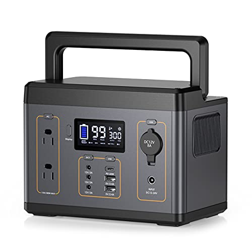 Portable Power Station , 300Wh(Peak 600Wh)PD 60W(MAX) USB-C Fast Charging Solar Generators, 280W/110V Pure Sine Wave AC Outlet Backup Power Supply for Outdoors Camping Travel Hunting Emergency