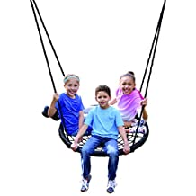 Web Riderz Outdoor Swing N' Spin- Safety rated to 600 lb, 39 inch diameter, Adjustable hanging ropes, Ready to hang and enjoy as a family
