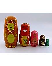YXQSED Russische nestpoppen, matroesjka, hout, stapelen, genestd, set van 5 stuks, handgemaakte kersthuiskamerdecoratie, Halloween, wensengift-Panda