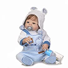 HerIn Reborn Baby Dolls Full Body Silicone, Lifelike Realistic Newborn Baby Doll, Play House Toy Doll,22 inch Fiber Hair Boy with Lovely Clothes