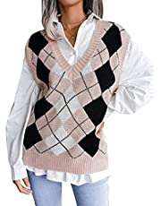 Womens Oversized Kint Vest Kleur Blok V-hals Tops Casual Mouwloos Argyle Patroon V-hals Losse Y2k Sweater, roze, S