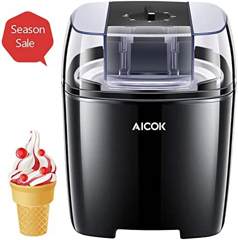 Aicok Ice Cream Maker, 1.6 Quart Automatic Frozen Yogurt and Sorbet Machine, BPA Free with Timer Function, Easy Homemade Ice Cream Machine with Recipes, Black