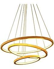 90W kroonluchter LED hanglamp ronde hout 3-ring hanger lamp hanglamp, hanglamp woonkamerlamp eetkamerlamp, wit silicone lampenkap hanglamp, 30 + 50 + 70 cm, in hoogte verstelbaar