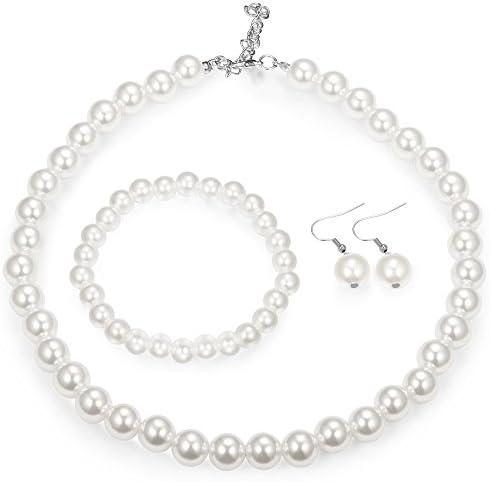 Finrezio Faux Pearl Crystal Necklace Earring Bracelet Set for Women Wedding Bridal Jewelry