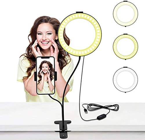 selizwold 6″ Selfie Ring Light with Desk Clip and Cell Phone Holder for Live Stream & Makeup, 68 LED Bulbs [3-Light Mode] [10-Level Brightness] 360° Rotating with Flexible Arms for iPhone Android