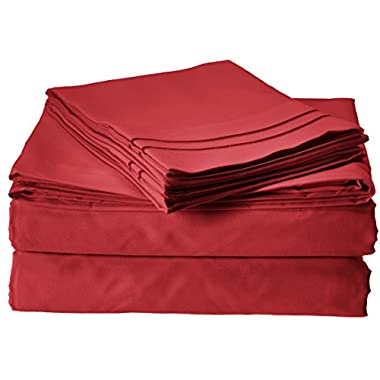 Clara Clark 1800 Premier Series 4pc Bed Sheet Set - King, Burgundy Red
