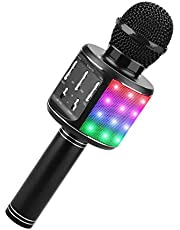 ShinePick Karaoke microfoon, Bluetooth microfoon voor kinderen, 4-in-1 draadloze draagbare microfoon met luidspreker geluidsopname, voor party podcast familie, compatibel met Android/iOS/PC
