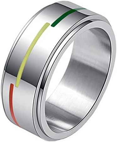 HIJONES Unisex Stainless Steel Silver Tone Rainbow Flag Spinner Ring Gays and Lesbians LGBT Pride Band 8mm