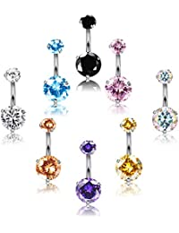 8-12Pcs 14G Belly Button Rings Surgical Steel CZ Navel Ring Set for Women Body Jewelry Piercing