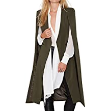 HaoDuoYi Women Casual Open Front Cape Trench Duster Coat Longline Blazer