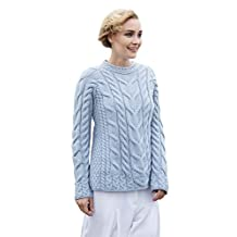 Ladies Irish Multi Cabled Raglan Super Soft Merino Wool Sweater