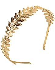 Xcozu Romeinse godin haarband, voor dames, gouden hoofdtooi, haarband, bruid, haarband, meisjes, laurierkrans, haarsieraad, gouden bruiloft, boho blad haarkroon accessoires