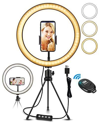 """ELEGIANT LED Ringlicht Stativ 10.2"""" Selfie Ringleuchte mit Bluetooth Fernbedienung dimmbar 3 Lichtfarben 11 Helligkeitsstufen für Tiktok YouTube Live-Stream Selfie Portrait Volg Schminken"""