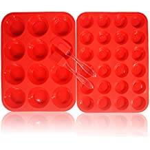 Walfos Reusable Top Silicone Muffin & Cupcake Baking Pan Set (Large 12 & Mini 24 Cup Sizes) / Non Stick cake molds/Dishwasher - Microwave Safe (Red)