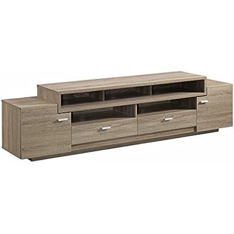 Furniture Of America Braswell 84 TV Stand In Light Oak