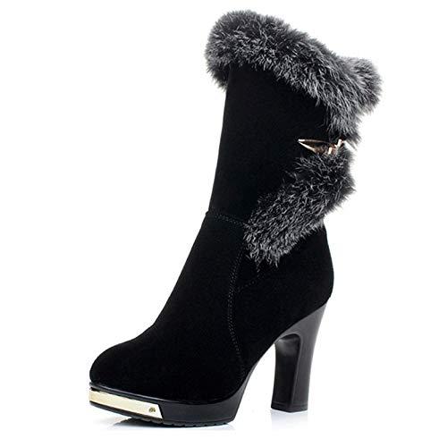 Black Scrub Fumak Women Water Proof High Heel Mid Calf Boots Woman Round Toe Heels shoes Half Short Botas Feminina E374