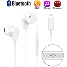 iPhone 8 Earbuds with Mic and Volume Control, Lightning Headphones with Microphone for iPhone 7 Earphones Noise Cancelling (Bluetooth Connectivity)