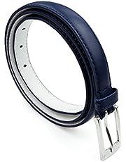 Women Skinny PU Leather Belt Silver Polished Buckle - Solid Color Formal Casual Dress Belle Donne