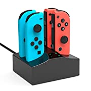 #LightningDeal YCCSKY Charging Station Joy-Con Charging Dock 4 in 1 Charger Stand with Type C Cable for Nintendo Switch Controller