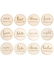 Kisangel 12 pcs Wooden Monthly Cards Newborn Milestone Baby Gift Sets Baby First Year Growth Photography (Round English Letter)