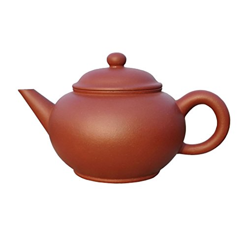 Yixing Teapot Ms Zhou Handmade Horizontal Tea Pot,Nature Red Clay,180cc