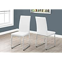 Monarch Specialties Dining Chair - 2Pcs / 38 H/White Leather-Look/Chrome