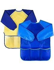 Jolik 2 Pack Kids Art Smocks Children Waterproof Artist Painting Aprons with Long Sleeve and 3 Pockets