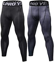 Mens Running Leggings Active Base Layer Bottoms Long John Pants Compression Tights for Workout and Training