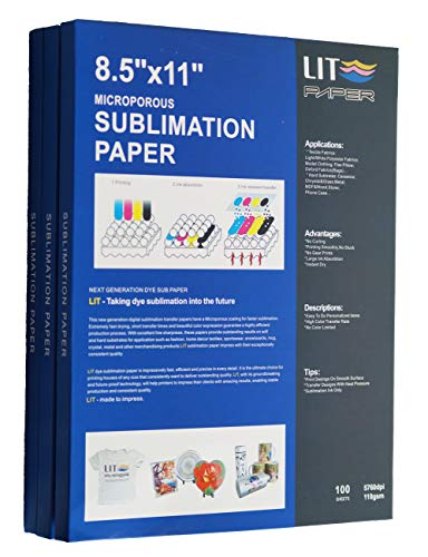 LIT Sublimation Paper 8.5 x 11 inch, 100 Sheets,110gsm - For Inkjet Printers With Sublimation Inks,