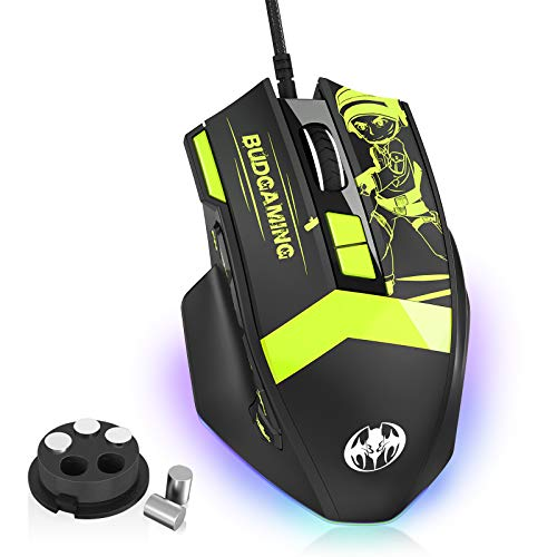 MKORMK GM28 PC Wired Gaming Mouse for Pros,Fluorescent MMO RGB LED Backlit [7200 DPI], Office/Game Dual Mode Computer Mice with 12 Programmable Buttons, Weight Tuning Set for Windows PC Gaming