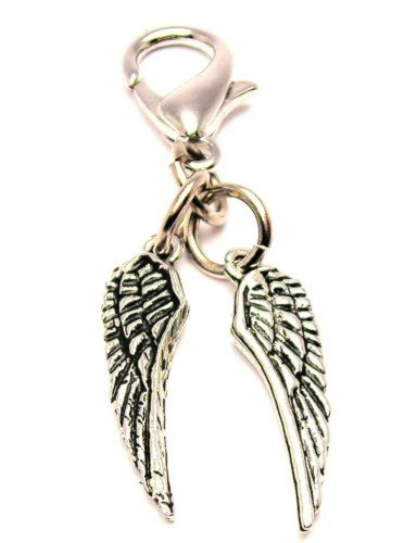 Angel Wings ChubbyChicoCharms Pewter Charm Zipper Pull