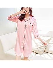 LXDWJ Solid Shirt Nightgown Sleepwear Womens Autumn Pyjamas Big Size Nightdress Nightwear Summer (Color : C, Size : X-Large)