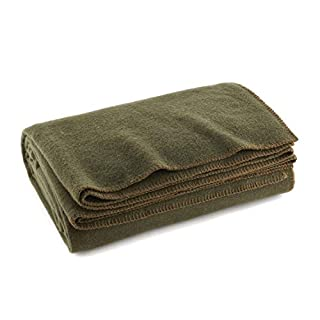 "Ever Ready First Aid Olive Drab Green Warm Wool Fire Retardent Blanket, 66"" x 90"" (80% Wool)-US Military"