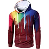 Ninasill Mens Autumn And Winter Long Sleeve Digital Print Hoodie Hooded Sweatshirt Tops Coat Outwear (L, Red)
