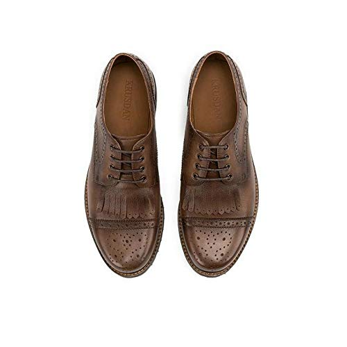 Ruanyi Echtes Leder Männer Schuhe Lace up Tassel Bullock Oxfords Schuhe Männlich Retro Casual Oxford Schuhe Oxfords Für Männer (Farbe : Braun, Größe : 44 EU) Braun 4075ee