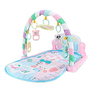 ASOSMOS Baby Play Mat Fitness Bodybuilding Frame Pedal Piano Music Carpet Blanket Kick Play Lay Sit Toy (pink)