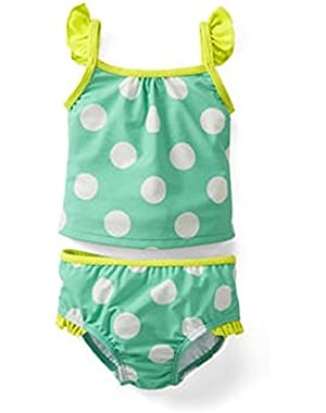 Girls Torquoise Polka Dot 2 Piece Tankini Swimsuit