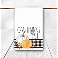 Buffalo Plaid Give Thanks Pumpkin Thanksgiving Tea Towel